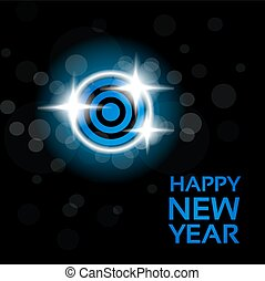 Vector happy New Year - blue disco lights on the black background, abstract wallpaper
