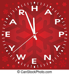 vector happy new year clock
