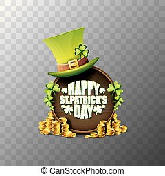 vector happy saint patricks day label or poster with green hat, lucky clovers and vintage wooden board isolated on transparent background. vector patricks day banner