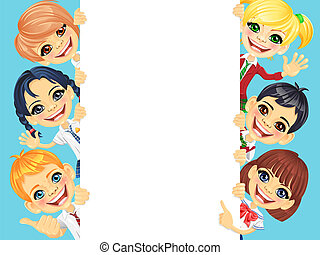 Vector happy smile kids and banner