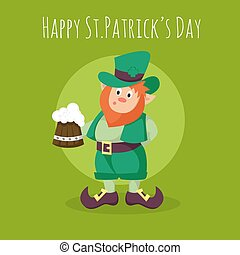 Vector Happy St.Patrick's Day greeting card with Leprechaun holding a mug of fresh beer on green background.