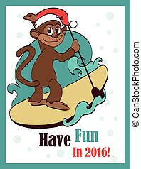 Vector Happy Surfing Paddleboarding Holidays Monkey Greeting...