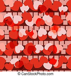 Vector Happy Valentine's Day background. Pink and red hearts.