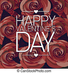 vector happy valentines day card with red rose