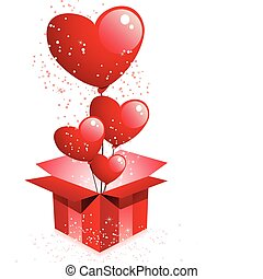 Happy Valentine's Day Gift with Hearts Balloons - Vector -...