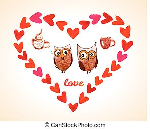 Vector Happy Valentines Day Greeting card with owl. Watercolor red heart on white background. Element for your design. Vintage Valentines Day background.
