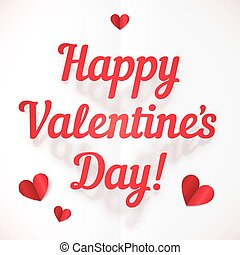 Happy Valentine's Day sign in folded paper style