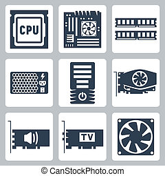 Vector hardware icons set: CPU, motherboard, RAM, power unit...