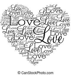 vector, hart, format., gemaakt, woorden