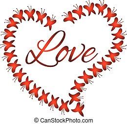 vector, hart, liefde, van, vlinder