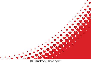 vector, hart, valentines, achtergrond, halftone
