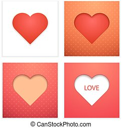 vector, hartjes, set, valentine.