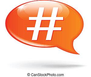 Vector illustration of hashtag orange speech bubble on white background