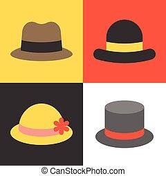 Vector hat icons set, flat design