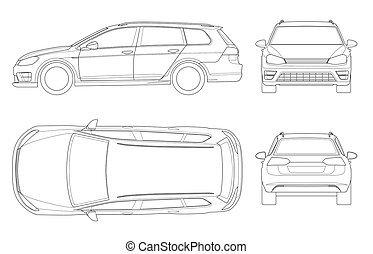 Vector hatchback car in outline. Compact Hybrid Vehicle. Eco...