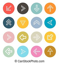 Vector Hatched Arrows Set in Colorful Circles
