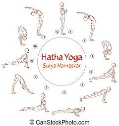 Vector Hatha Yoga Surya Namaskar asanas - Vector Hatha Yoga...
