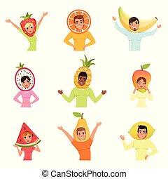 vector, hats., diferente, conjunto, plano, mango, personas., lemon., pera, caricatura, naranja, fruta, diseño, fresa, pitaya, plátano, mujeres, piña, sandía, hombres