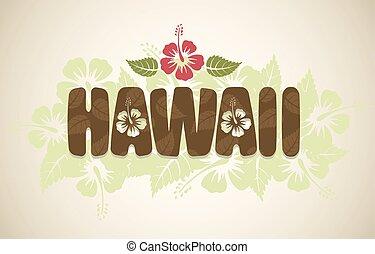 vector, hawaii, woord, met, hibiscus