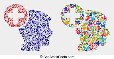 Vector Head Medicine Mosaic Icon of Triangle Elements