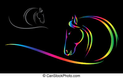 Vector head of horse on a black background