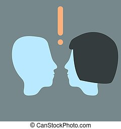Vector head relationship. Man and woman