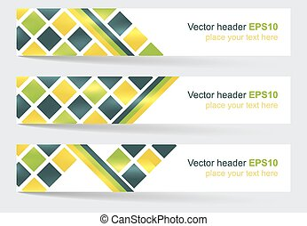 Vector header or banner with square pattern
