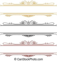 vector, header, set, ornament