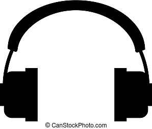 Vector headphones icon. Black symbol silhouette isolated on white background. Vector illustration