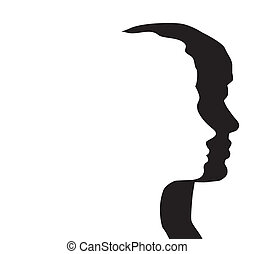 vector heads of man and woman