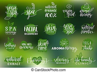 Vector health and beauty care labels. Spa,yoga centers badges. Wellness signs. Hand drawn tags set for organic cosmetics