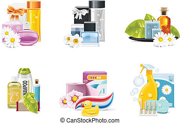 Vector health and beauty supplies - Set of the health and...