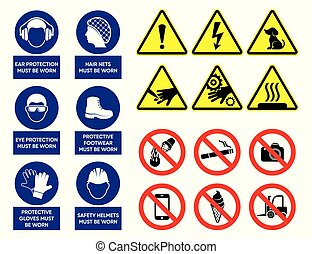 Vector health and safety signs