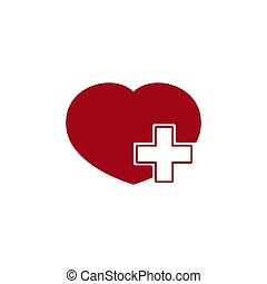 Vector health care icon, white cross in red heart