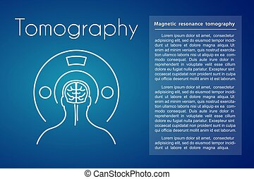 Healthcare linear medical tomography icon on blue background. Vector illustration of man with brain symbol in the tomograph. Design for medicine or therapy for headache, cancer or brain diseases