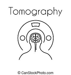 Healthcare linear medical tomography icon. Vector illustration of man with brain symbol in the tomograph. Design template for medicine or therapy for headache, cancer or brain diseases
