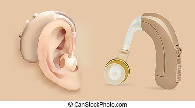 Vector hearing aid behind the ear. Sound amplifier for patients with hearing loss. Treatment and prosthetics in otolaryngology. Medicine and health. Realistic object.