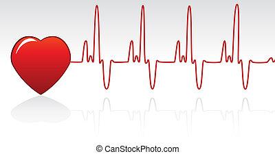 heart and heartbeat  - vector heart and heartbeat