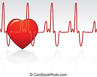 vector heart and heartbeat