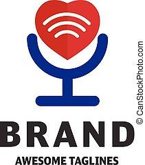 Vector heart and WiFi logo combination