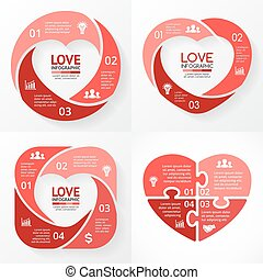 Vector heart circle infographic. Template for love cycle...