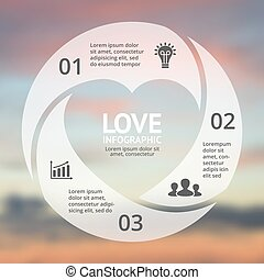 Vector heart circle infographic. Template for love cycle diagram, graph, presentation, round chart. Business concept with 3 options, parts, steps, processes. Happy Valentines Day.