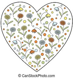 Vector heart element with flowers.
