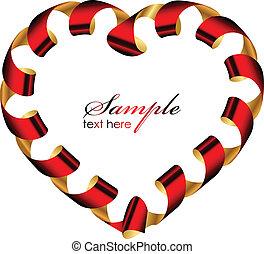 Vector heart frame from ribbon