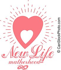 Vector heart hand-drawn emblem isolated on white. New life conceptual symbol. Pregnancy support and mother care icon