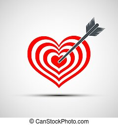 Vector heart icon as a target with an arrow