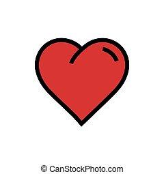 Vector Heart Icon cartoon red color