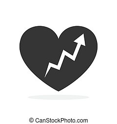 Vector Heart icon with up arrow.