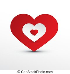 Vector Heart Icons. Red and White Paper Cut Hearts.
