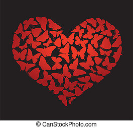Vector heart - Heart made of butterflies on black....